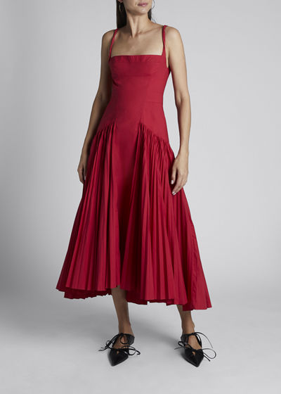 Poplin Pleated Maxi Dress