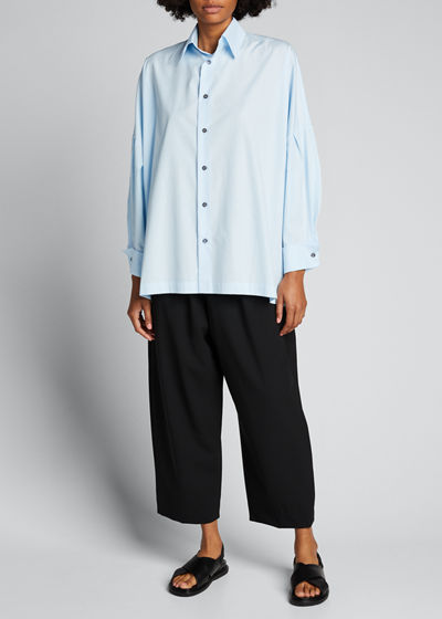 Dropped-Shoulder Collared Button-Down Shirt
