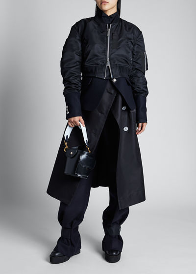 Layered Bomber Combo Trench Jacket
