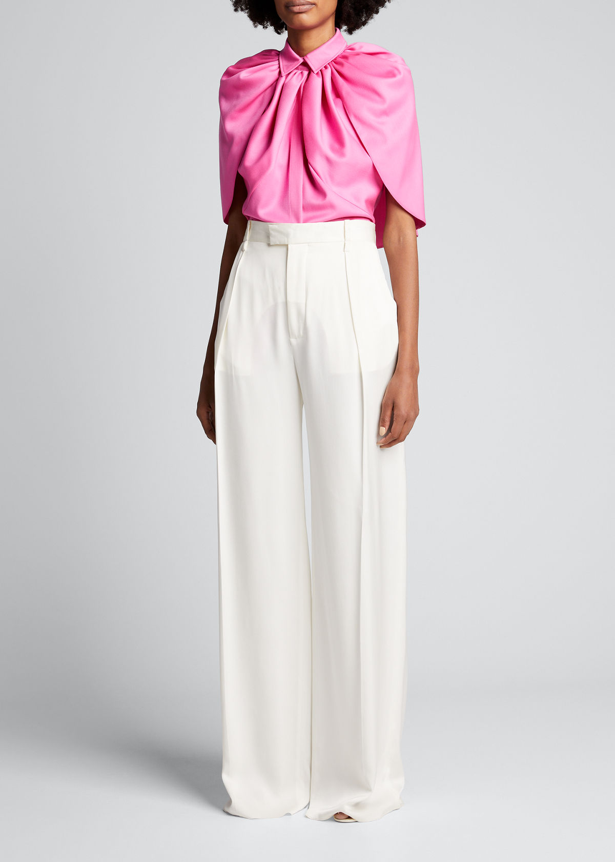 Brandon Maxwell SOLID WOOL SATIN FAILLE CAPELET BLOUSE