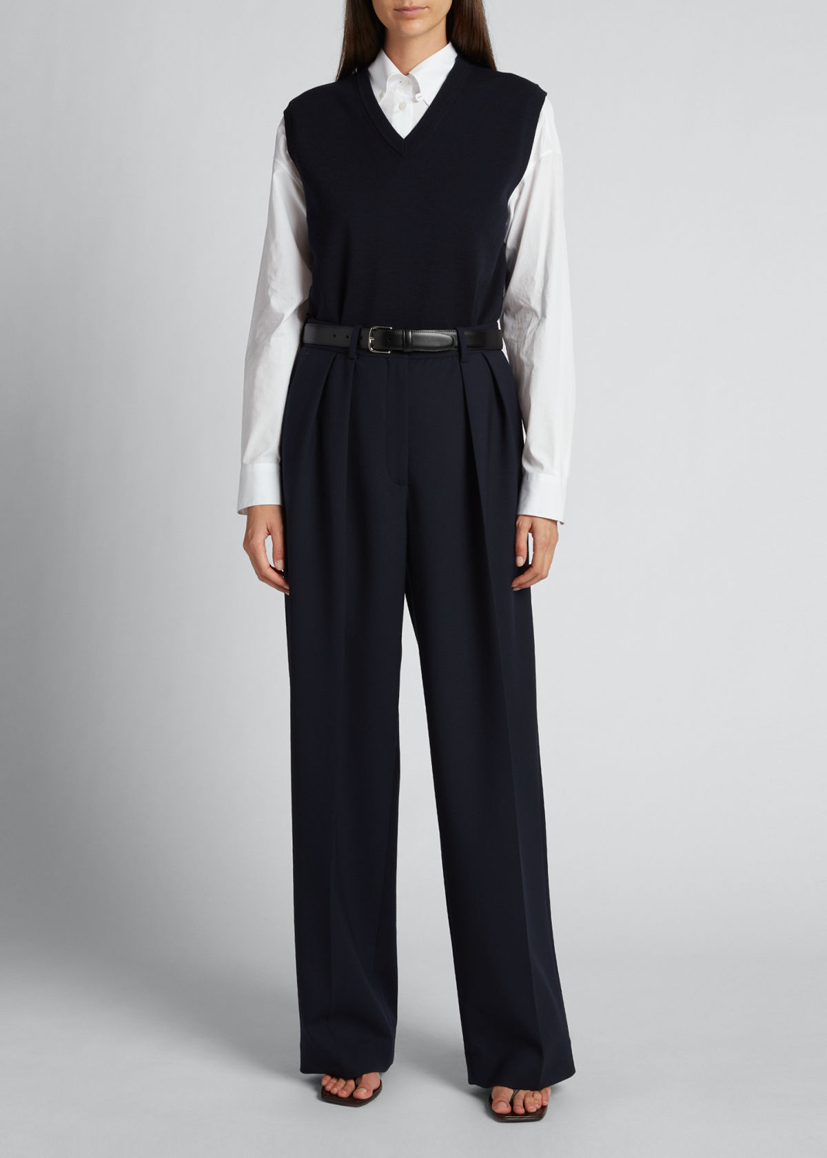 The Row IGOR STRETCH WOOL STRAIGHT-LEG PANTS