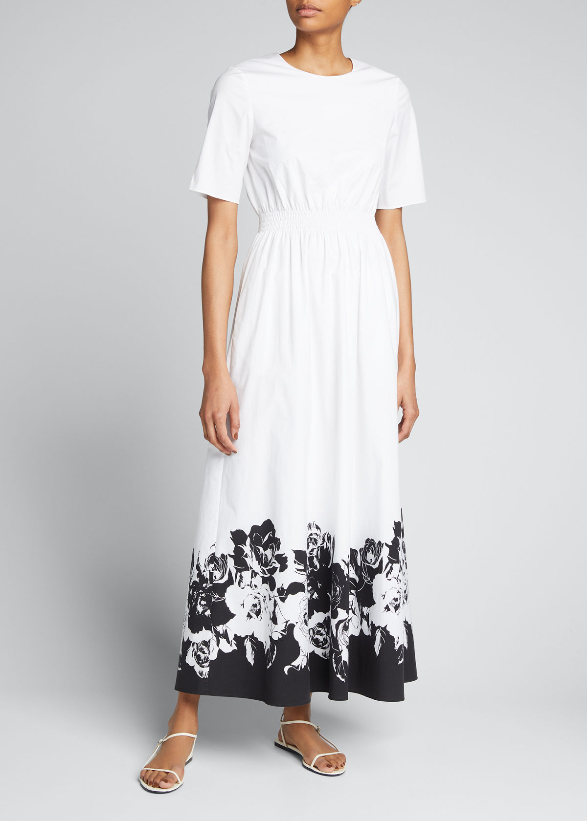 ADAM LIPPES Clothing PRINTED POPLIN SMOCKED-WAIST MAXI DRESS