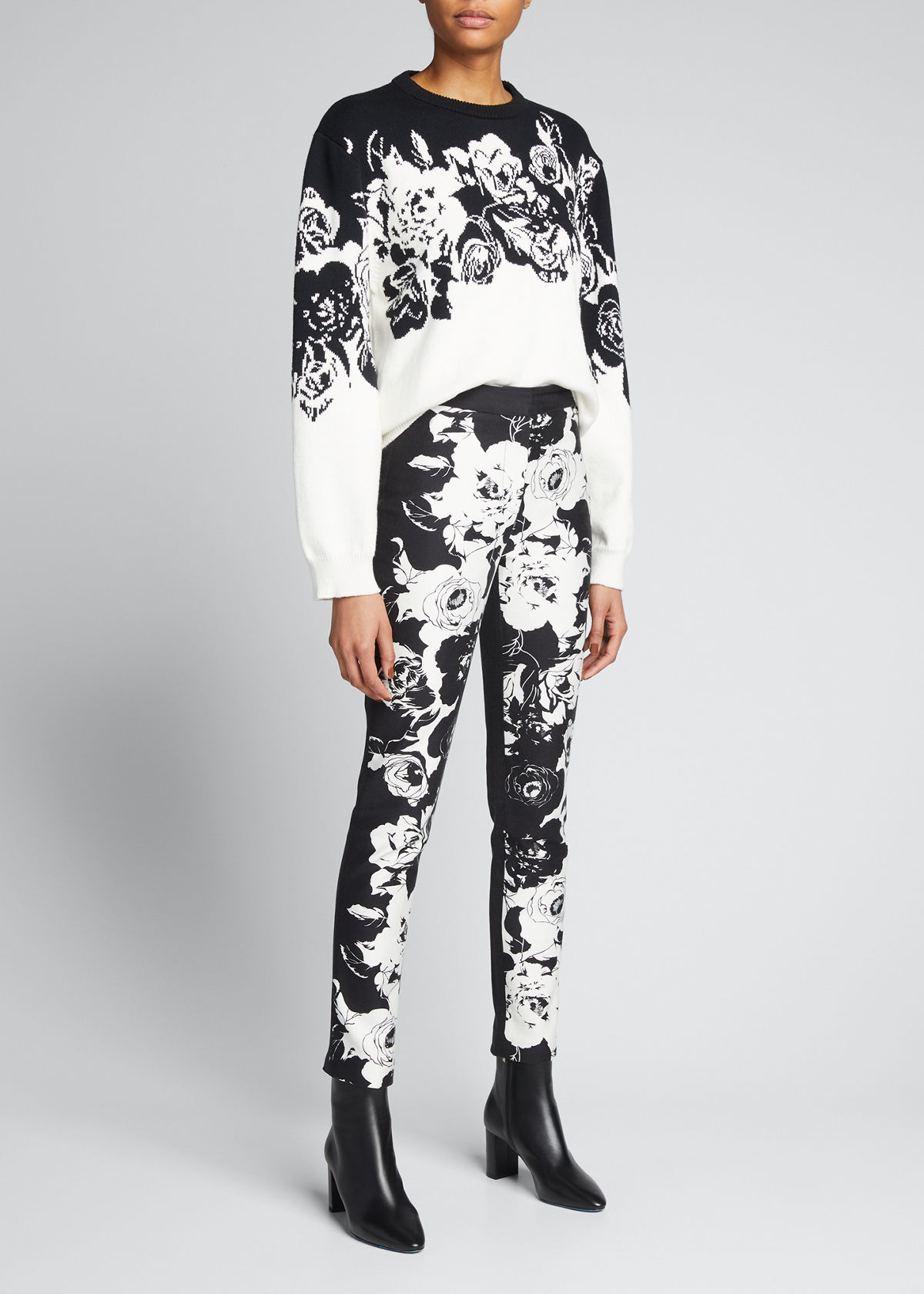 Adam Lippes FLORAL-PRINT DENIM CIGARETTE PANTS
