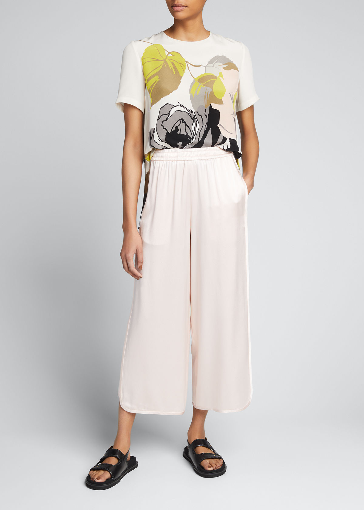 Adam Lippes FLORAL-PRINT PLEATED CREPE TOP
