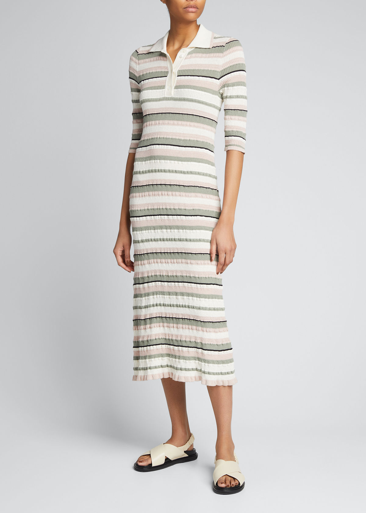 Adam Lippes STRIPED MIDI POLO DRESS