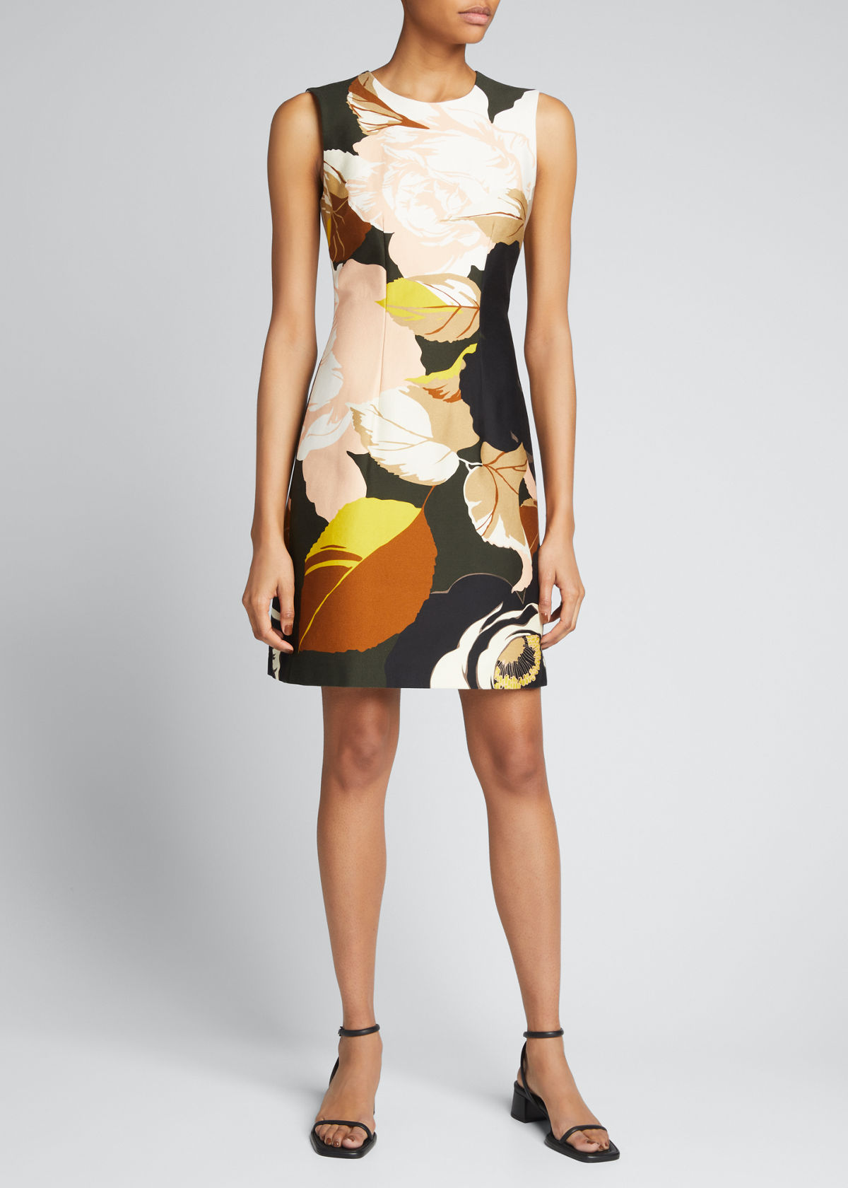 Adam Lippes FLORAL-PRINT DENIM DRESS