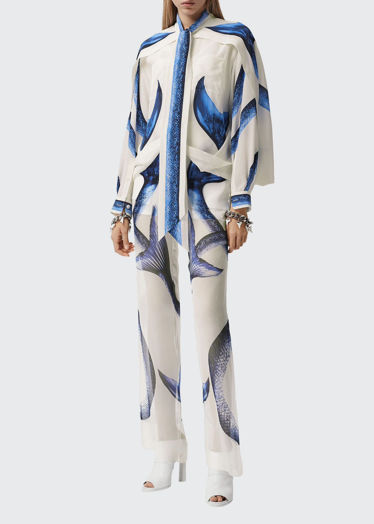 Burberry MERMAID TAIL-PRINT CHIFFON OVERLAY TROUSERS