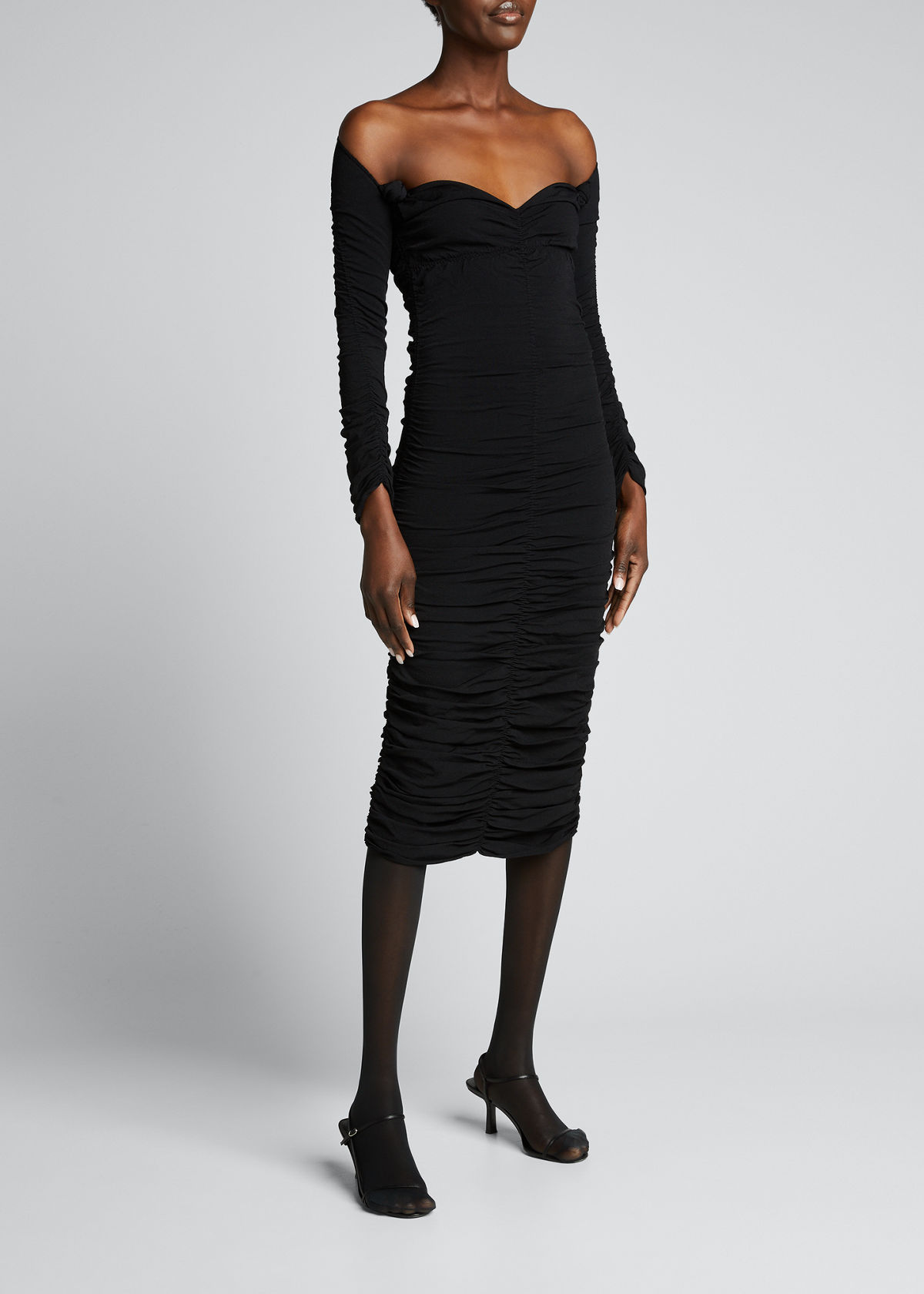Khaite Knits CHARMAINE RUCHED MIDI DRESS