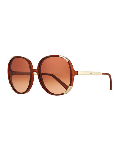 Round Capped Plastic & Metal Sunglasses