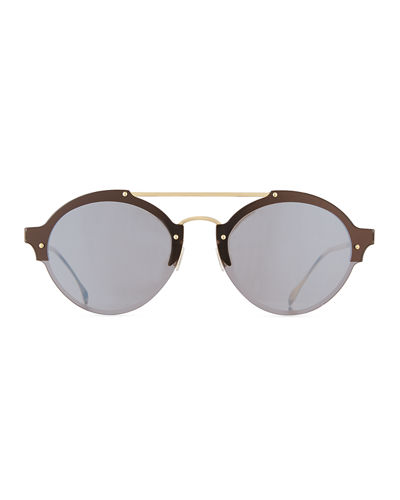 Malpensa Mirrored Round Stainless Steel Sunglasses