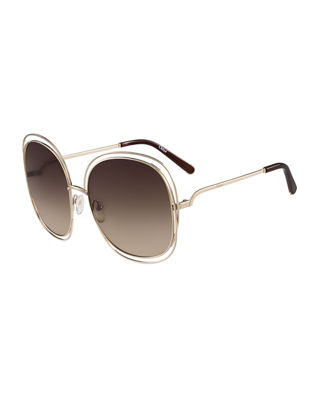 ChloÉ Carlina Trimmed Round Sunglasses, Pink/Gold