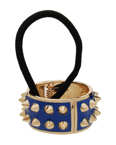 Spiked Enamel Ponytail Holder with Cuff
