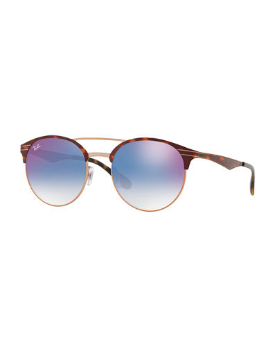Club Round Mirrored Metal Double-Bridge Sunglasses