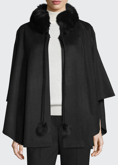Cashmere Fur-Trim Cape