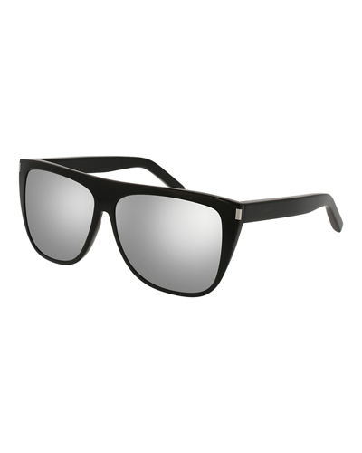 Mirrored Oversized Flat-Top Sunglasses