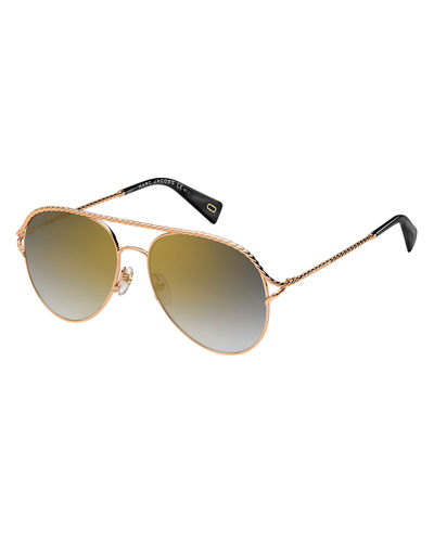 Marc Jacobs Metal Twist Aviator Sunglasses