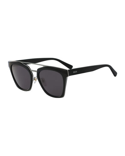Square Monochromatic Brow-Bar Sunglasses