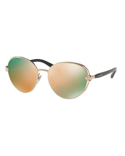 Serpenti Round Open-Inset Sunglasses