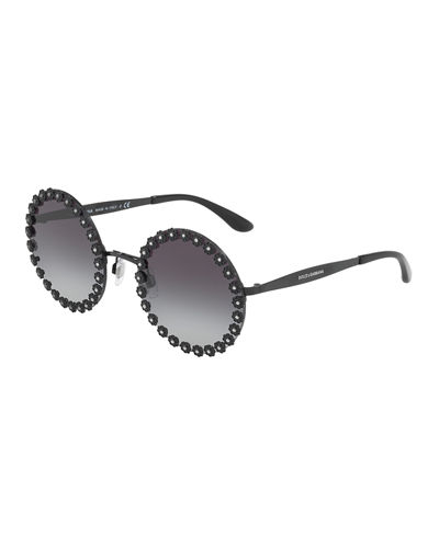 Round Floral Metal Sunglasses