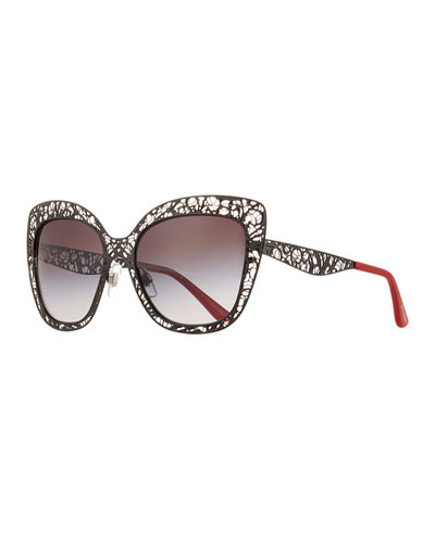 6f4edf405f1f Dolce & Gabbana Flowers Lace Square Metal Sunglasses