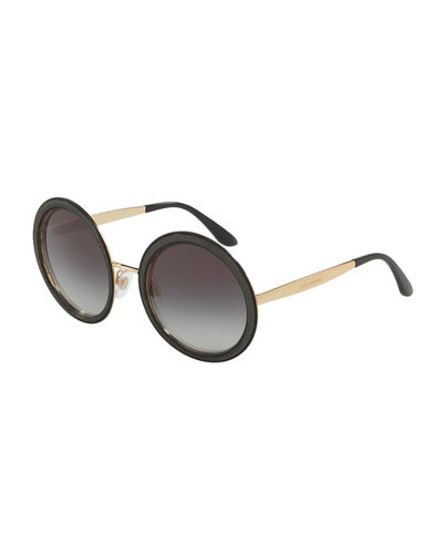 Round Ridged Metal Sunglasses