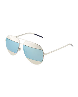 Dior Split Two Tone Metallic Aviator Sunglasses by Dior