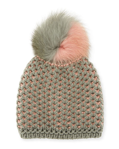 English-Rib Knit Beanie w/ Two-Tone Fur Pompom