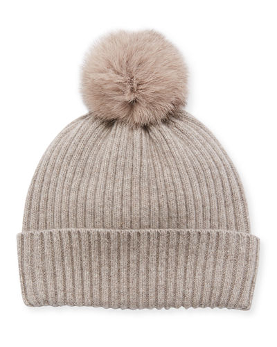Sequin Knit Hat w/ Fur Pompom