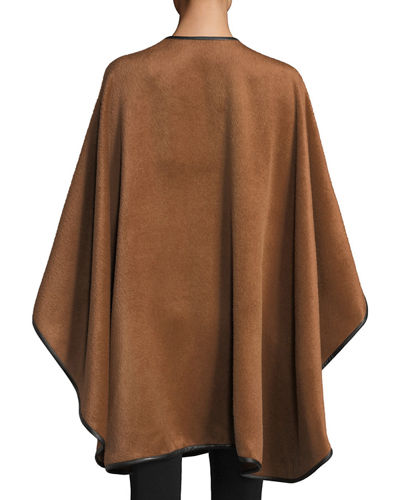Baby Alpaca Cape w/ Leather Trim
