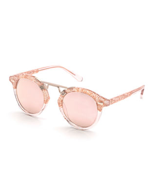 St. Louis Ii Two-Tone Round Acetate Sunglasses, Rose Gold in Camellia To Blush/Rose Gold Mirror