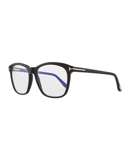 75357f7642 Tom Ford Blue Block Two-Tone Transparent Acetate Square Optical Frames In  Shiny Black