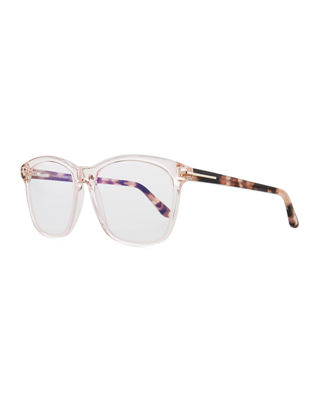 Blue Block Two-Tone Transparent Acetate Square Optical Frames in Shiny Pink/ Vintage Havana