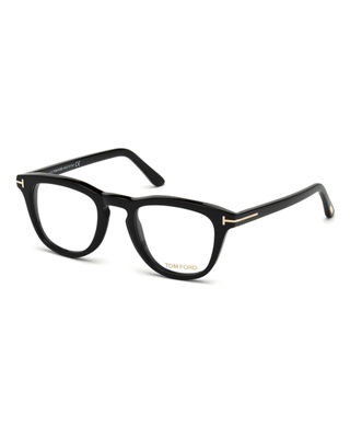 Blue Block Two-Tone Transparent Acetate Square Optical Frames in Shiny Black/ Blue
