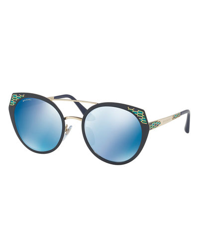 Serpenti Round Mitered Metal Sunglasses
