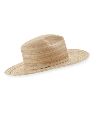 Somba Patterned Straw Fedora Hat in Pink
