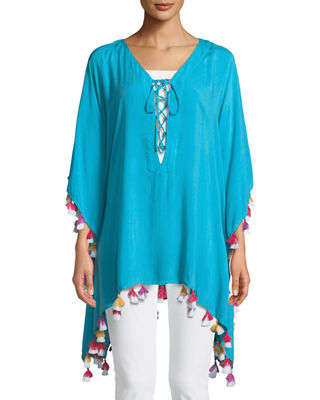 BINDYA Lace-Up Tunic With Tassels in Blue