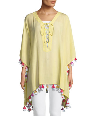 BINDYA Lace-Up Tunic With Tassels in Yellow