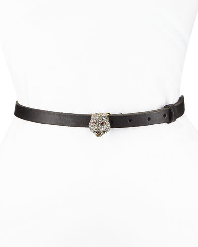 Gucci Skinny Leather Belt w/ Crystal Tiger Buckle