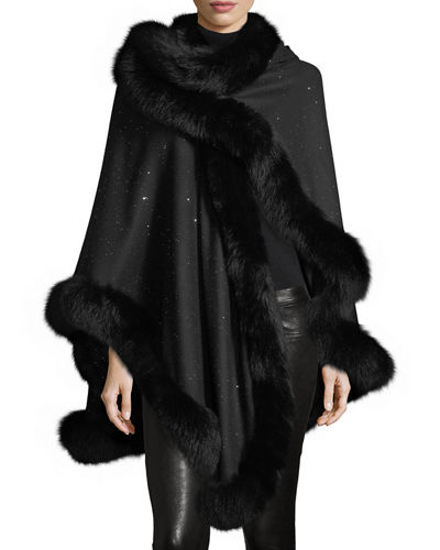 Fox Fur-Trimmed Cashmere Sequin U-Cape