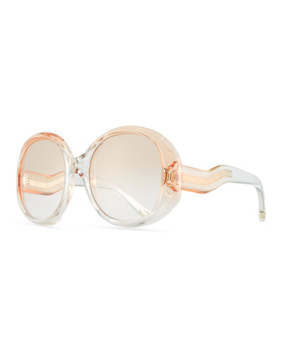 Chloe Qleo Semi-Transparent Oval Sunglasses