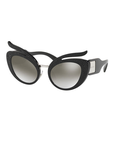 Glittered Mirrored Cat-Eye Sunglasses
