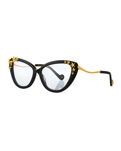 Lily Love Nouveau Cat-Eye Optical Frames w/ 3D Star Trim
