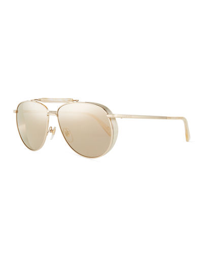 MCM Mirrored Aviator Sunglasses w/ Side Blinders