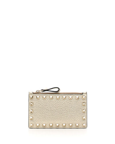 Valentino Garavani Rockstud Metallic Coin Purse Card Case
