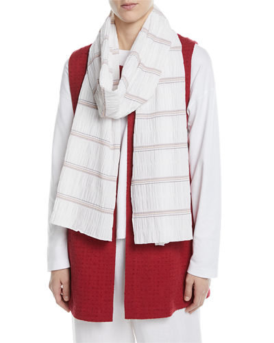 Cotton-Stretch Stripe Scarf