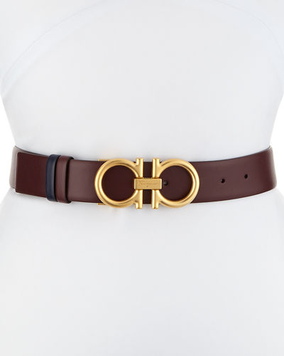 Reversible Gancini Leather Belt