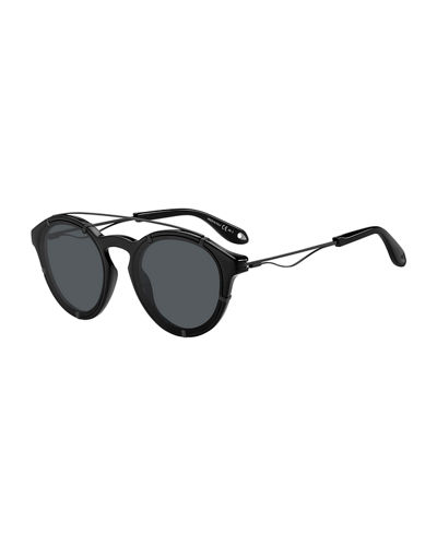 Acetate & Metal Round Sunglasses