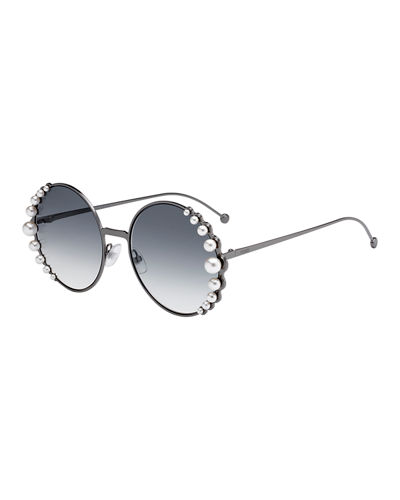 Round Metal Sunglasses w/ Pearly Trim