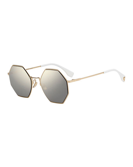 cd01540fb08b Fendi 53Mm Octagonal Polarized Metal Sunglasses - Gold
