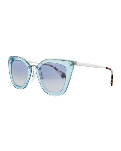 Monochromatic Metal-Trim Geometric Cat-Eye Sunglasses